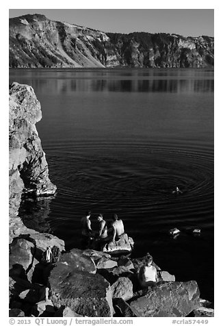 People on lakeshore, Cleetwood Cove. Crater Lake National Park (black and white)