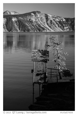 Water Level recording gauge tower, Cleetwood Cove. Crater Lake National Park (black and white)