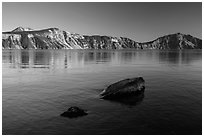 Rocks in lake, Cleetwood Cove. Crater Lake National Park ( black and white)