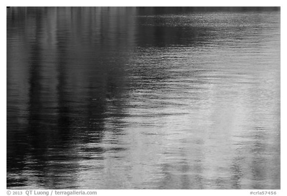 Golden and blue reflections, Cleetwood Cove. Crater Lake National Park (black and white)