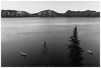 Tour boats and south rim at sunset, Cleetwood Cove. Crater Lake National Park ( black and white)