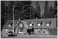 Main crater lake visitor Center. Crater Lake National Park ( black and white)