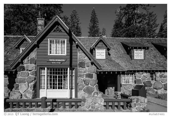 Steel Visitor Center. Crater Lake National Park (black and white)