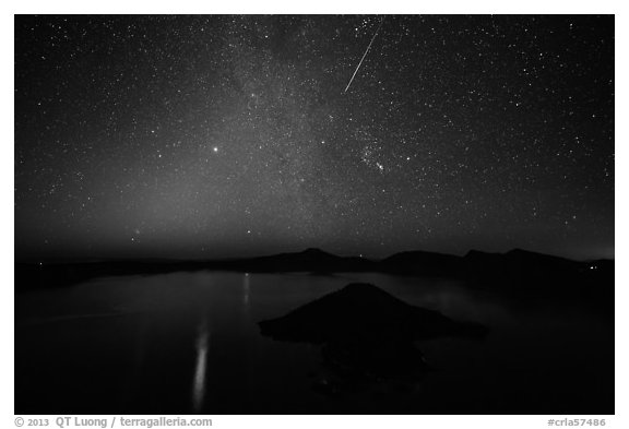 Meteor over Crater Lake. Crater Lake National Park (black and white)