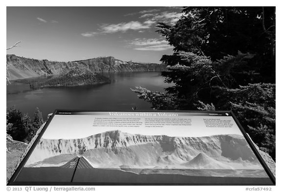 Interpretive sign, Wizard Island and Llao peak. Crater Lake National Park (black and white)