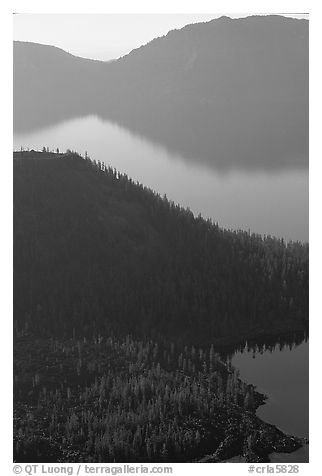 Wizard Island and crater rim profiles, early morning. Crater Lake National Park (black and white)