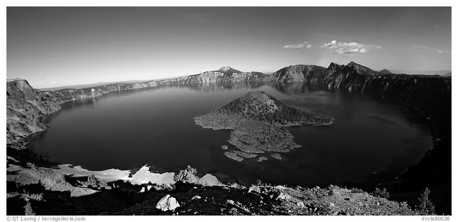 Crater Lake and Wizard Island. Crater Lake National Park (black and white)