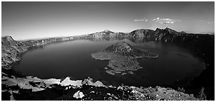 Crater Lake and Wizard Island. Crater Lake National Park, Oregon, USA. (black and white)