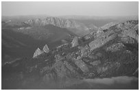 Monarch Divide at sunset. Kings Canyon National Park ( black and white)