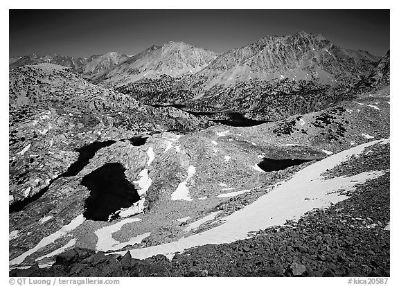 Rae Lakes basin from high pass. Kings Canyon National Park (black and white)
