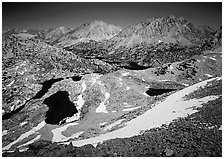 Rae Lakes basin from high pass. Kings Canyon National Park, California, USA. (black and white)