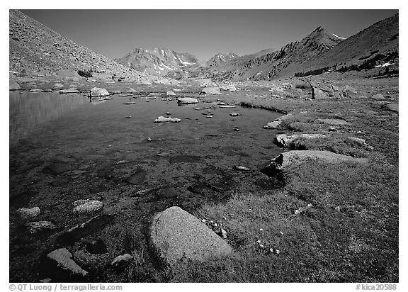 Pond at Sawmill Pass, morning. Kings Canyon  National Park (black and white)