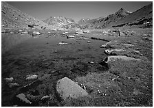 Pond at Sawmill Pass, morning. Kings Canyon National Park ( black and white)