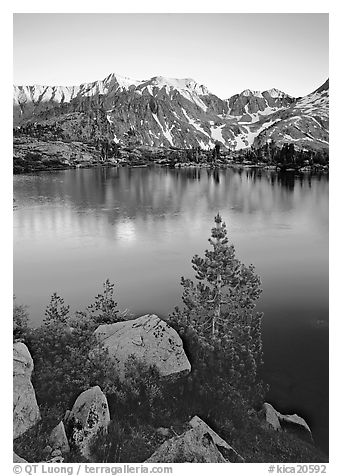 Boulders, tree, and Woods Lake at sunset. Kings Canyon National Park (black and white)