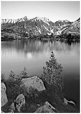 Boulders, tree, and Woods Lake at sunset. Kings Canyon National Park ( black and white)