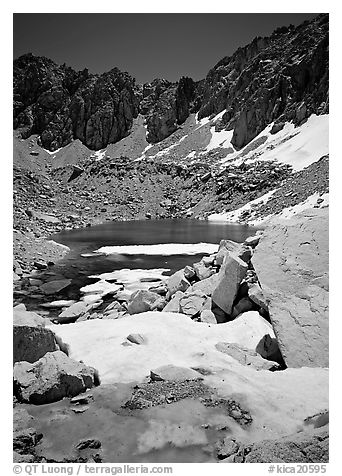 Alpine lake in early summer. Kings Canyon National Park (black and white)