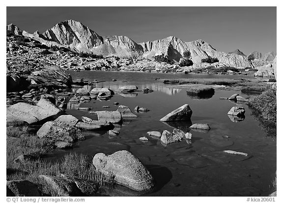 Mt Giraud reflected in a lake in Dusy Basin, morning. Kings Canyon  National Park (black and white)