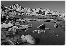 Mt Giraud reflected in a lake in Dusy Basin, morning. Kings Canyon National Park ( black and white)