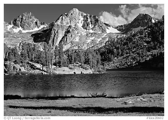 Rae Lake and Painted Lady. Kings Canyon  National Park (black and white)
