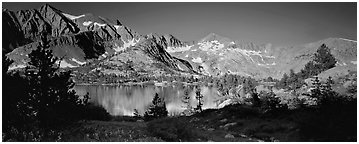 Lake and high peaks. Kings Canyon National Park (Panoramic black and white)