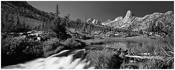Clear cascading stream and peak. Kings Canyon National Park (Panoramic black and white)