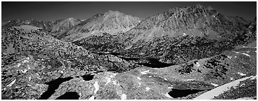 Mineral mountain landscape dotted with lakes. Kings Canyon National Park (Panoramic black and white)
