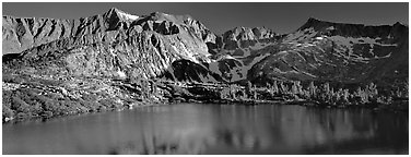 Sierra Mountains and lake in early summer. Kings Canyon National Park (Panoramic black and white)