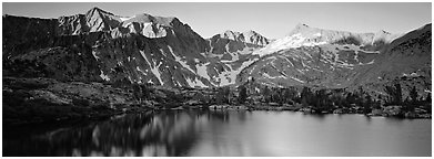 Last last over peaks and reflections. Kings Canyon National Park (Panoramic black and white)