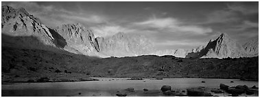 Palissades at sunset, Dusy Basin. Kings Canyon National Park (Panoramic black and white)