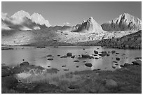 North Palissade, Isocele Peak and Mt Giraud reflected in lake, Dusy Basin. Kings Canyon National Park ( black and white)