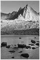 Isocele Peak reflected in lake, late afternoon, Dusy Basin. Kings Canyon National Park ( black and white)