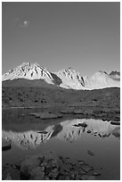 Palissades chain reflected in lake, Dusy Basin. Kings Canyon National Park ( black and white)