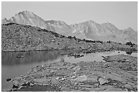 Lake and mountains at dawn, Dusy Basin. Kings Canyon National Park, California, USA. (black and white)