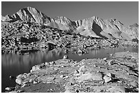 Lake and Mt Giraud range, morning, Dusy Basin. Kings Canyon National Park ( black and white)