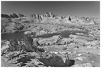 Alpine terrain, lakes and mountains, morning, Dusy Basin. Kings Canyon National Park ( black and white)