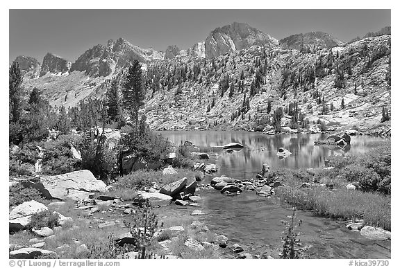 Outlet stream, lake, and mountains, Lower Dusy Basin. Kings Canyon National Park (black and white)