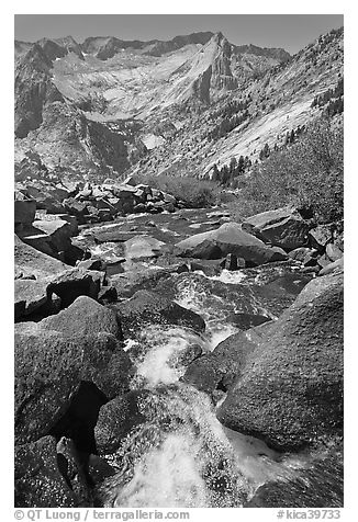 Stream plunges towards Le Conte Canyon. Kings Canyon National Park (black and white)