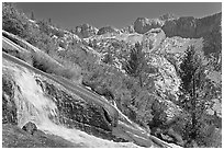 Waterfall, and mountains, Le Conte Canyon. Kings Canyon National Park, California, USA. (black and white)