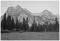 Langille Peak from Big Pete Meadow at dawn, Le Conte Canyon. Kings Canyon National Park, California, USA. (black and white)