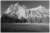 Langille Peak from Big Pete Meadow, morning, Le Conte Canyon. Kings Canyon National Park ( black and white)