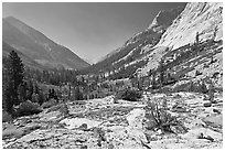 Rocks and meadows, Le Conte Canyon. Kings Canyon National Park, California, USA. (black and white)