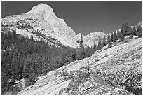 Granite slab and Langille Peak, Le Conte Canyon. Kings Canyon National Park ( black and white)