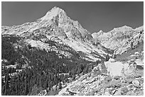 Le Conte Canyon and Langille Peak. Kings Canyon National Park, California, USA. (black and white)