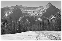 Granite slab, Langille Peak and the Citadel above Le Conte Canyon. Kings Canyon National Park ( black and white)