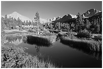 Grasses, creek, and Columbine Peak. Kings Canyon National Park, California, USA. (black and white)