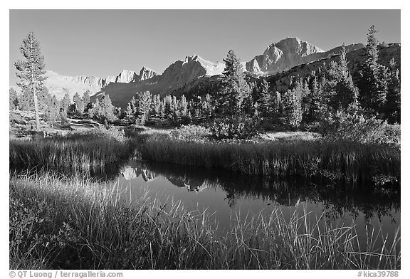 Mountains reflected in calm creek, late afternoon, Lower Dusy basin. Kings Canyon National Park (black and white)