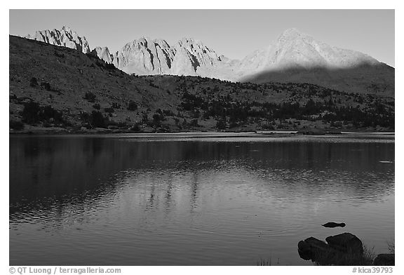 Palissades and Columbine Peak reflected in lake at sunset. Kings Canyon National Park (black and white)