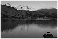 Palissades and Columbine Peak reflected in lake at sunset. Kings Canyon National Park, California, USA. (black and white)