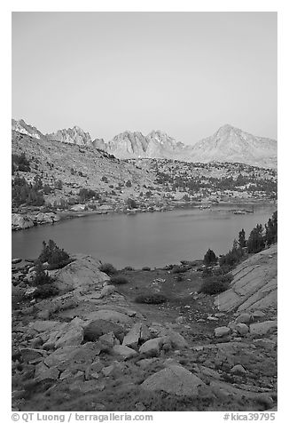 Palissades and Columbine Peak above lake at dusk, Lower Dusy basin. Kings Canyon National Park (black and white)