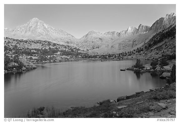 Columbine Peak, Palissades, and Mt Giraud at dusk above lake. Kings Canyon National Park (black and white)